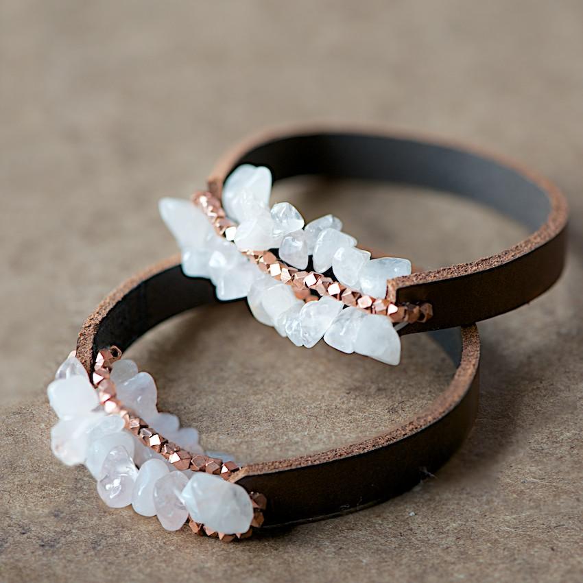 claspless chunky leather bracelet tutorial the beading