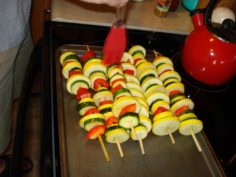 Kabobs On The Grill. Grill kabobs, covered with