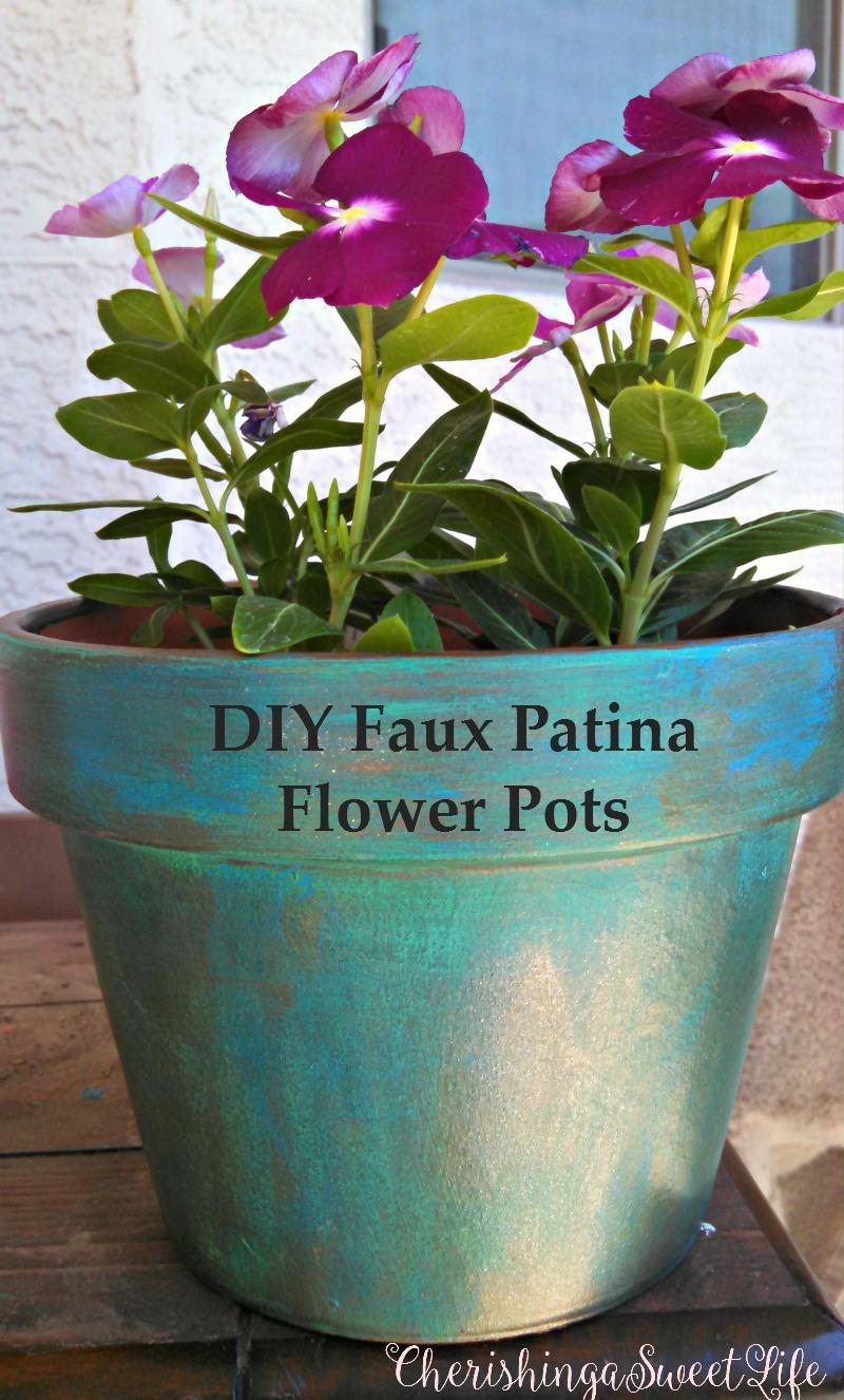 cherishing a sweet life diy faux patina flower pots. Black Bedroom Furniture Sets. Home Design Ideas