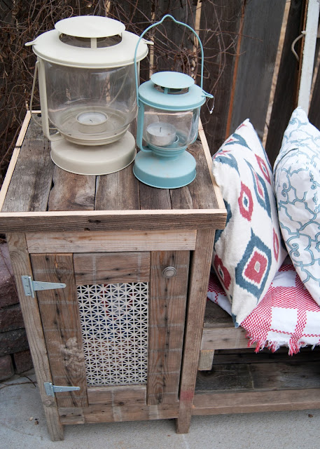 DIY Outdoor Storage Bench with side cabinet, wood storage and fire pit seating
