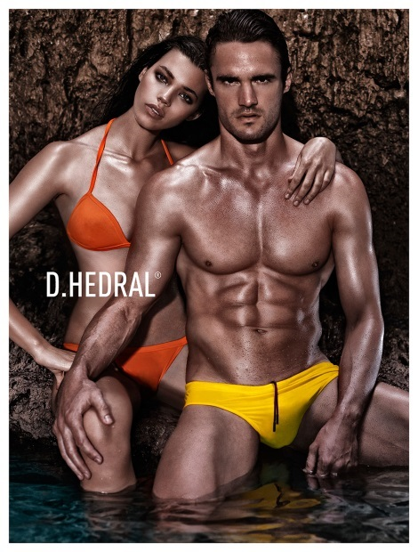 Thom Evans wearing Taxi Yellow D.Hedral swimwear