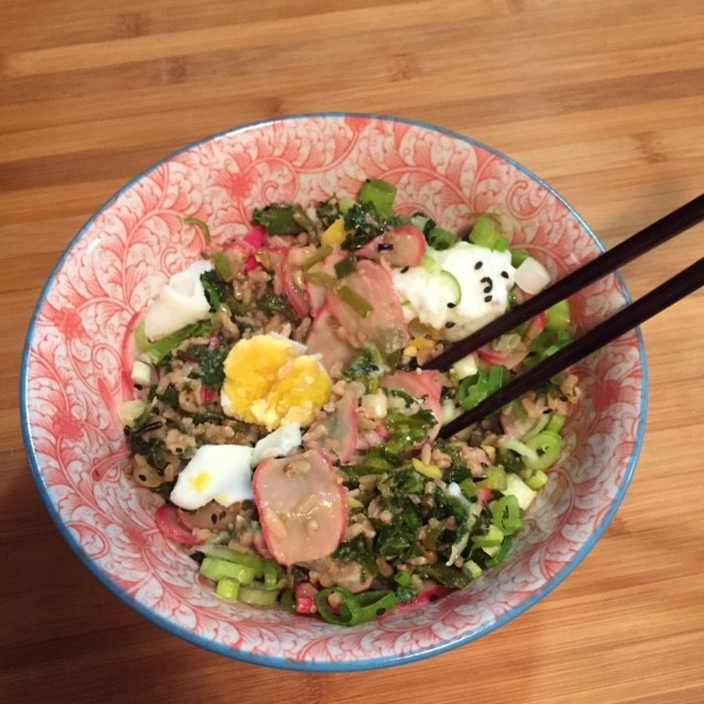 Brown rice miso bowl with kale and eggs