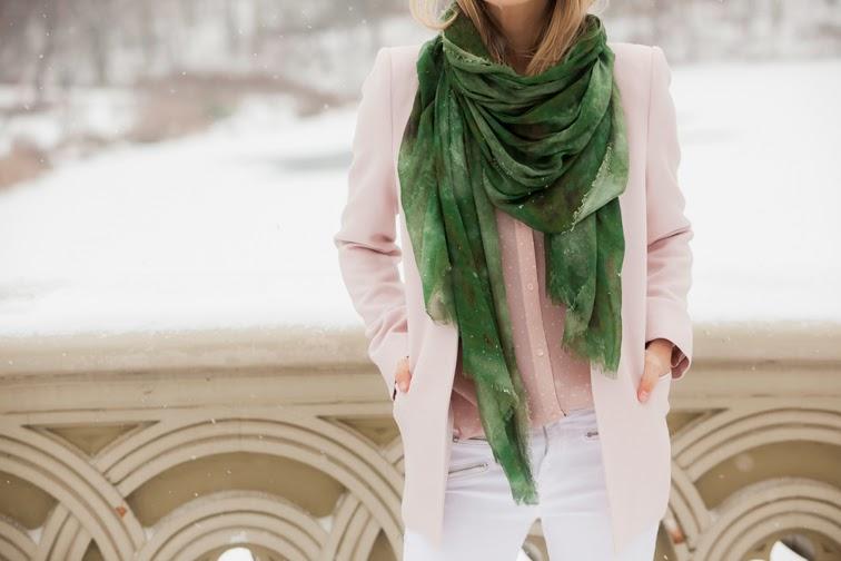 Baby pink Jason Wu for Target blouse Zara blazer J Brand jeans Bindya scarf