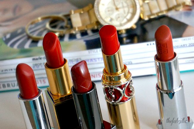 Top Red Lipstick, Tom Ford Lip Color Matte Ruby Rush, Marc Jacobs So Rouge, YSL Rouge in Danger, Burberry Lip Cover Ruby, Givenchy Rouge D'Exception, Red Must-Have, How to Wear Red Lipstick