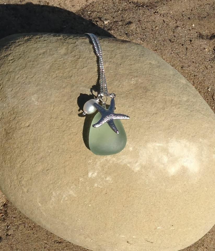 Seafoam Seaglass w/ Pearl & Starfish