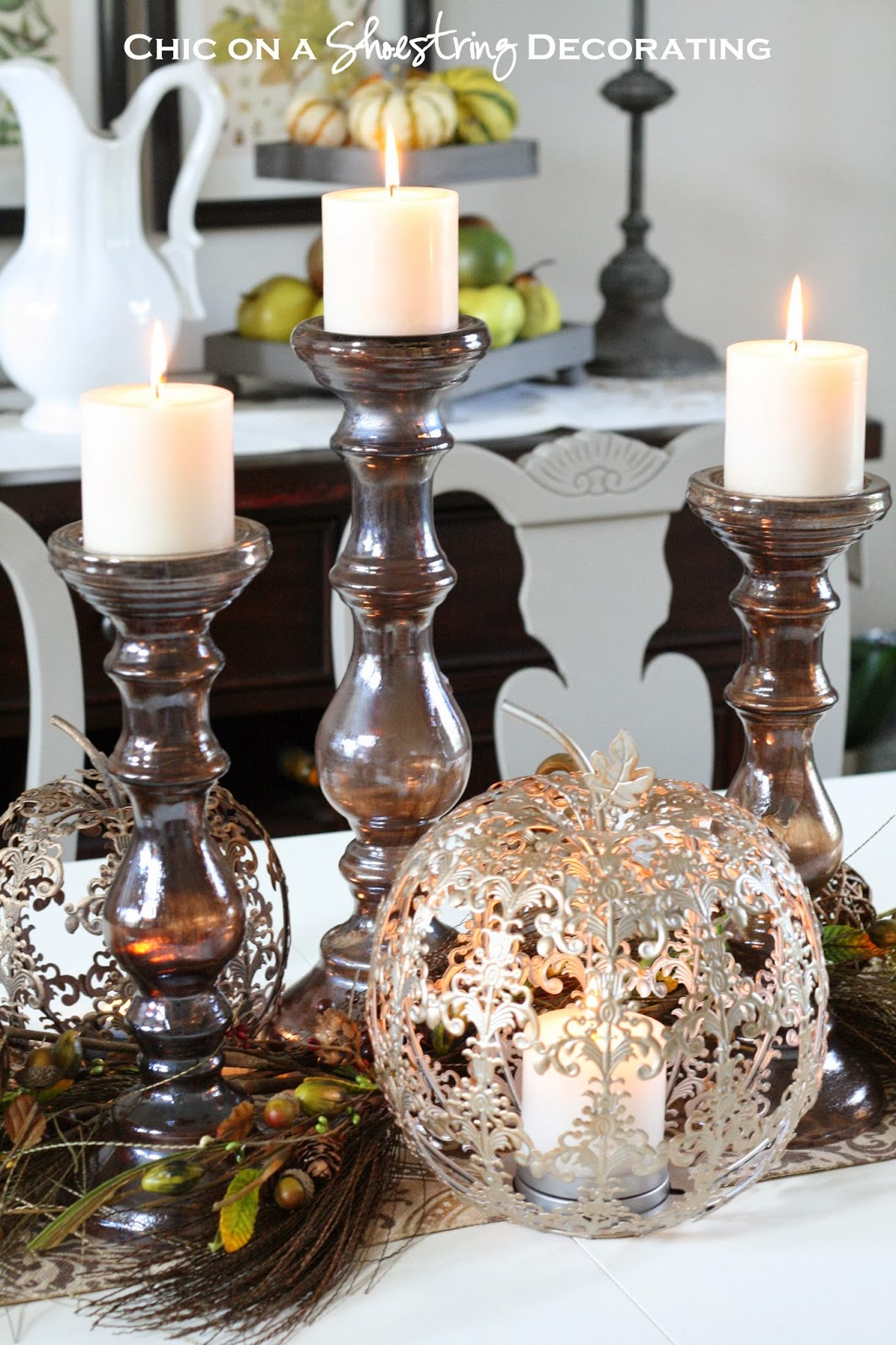 Chic on a shoestring decorating fall centerpiece and pier for Pier 1 dining room centerpieces