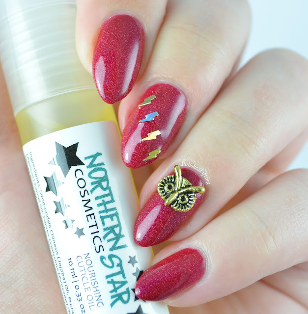 Northern Star Cosmetics Protego Totalum lightning bolt owl charm cuticle oil Harry Potter Set
