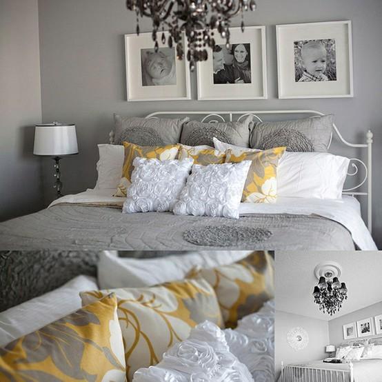 Dormitorios en gris y amarillo dormitorios con estilo - Dormitorio pared gris ...