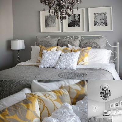diseño de dormitorio gris amarillo