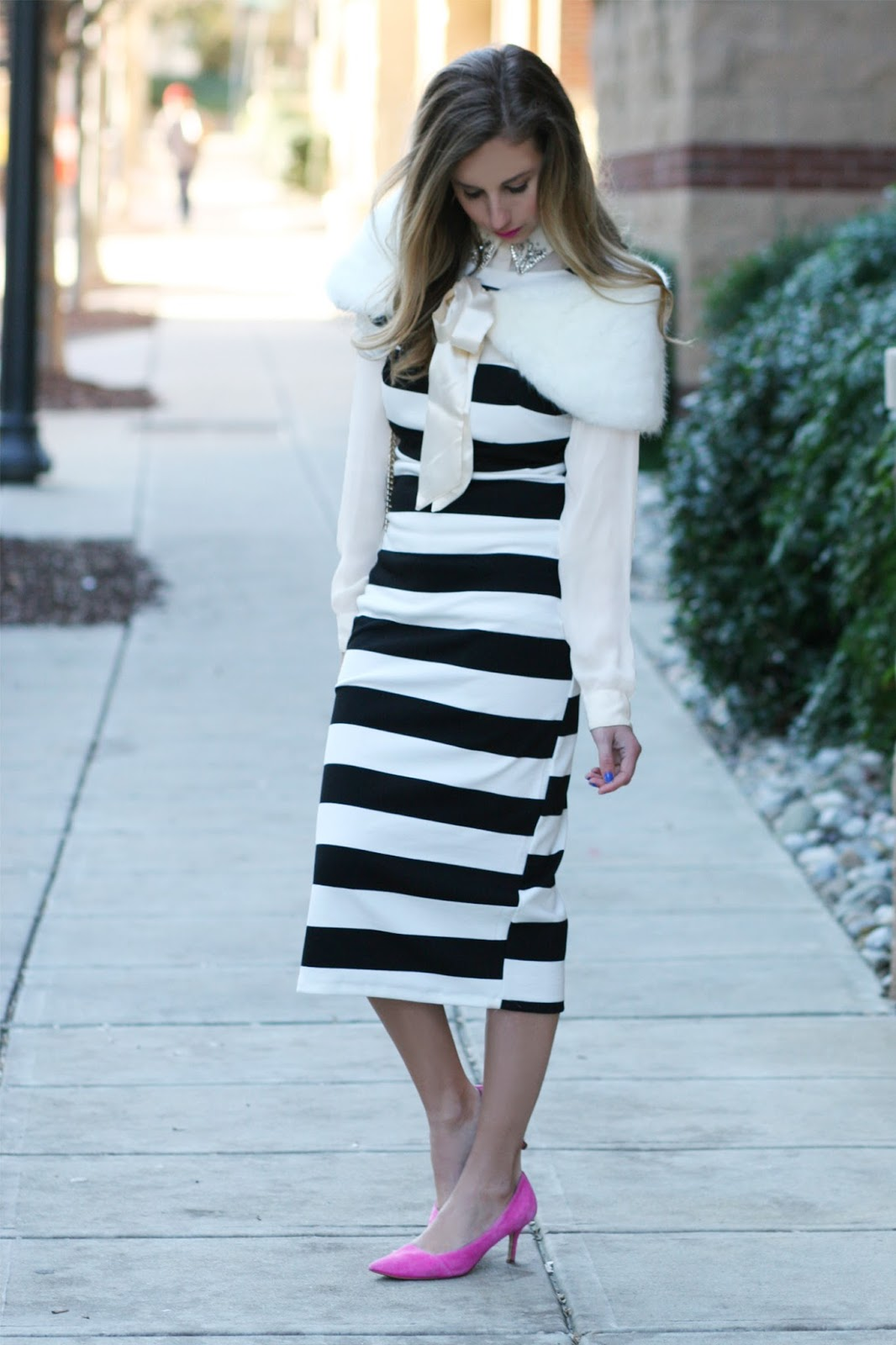 Shein-Striped-Black-And-white-midi-dress-with-fur