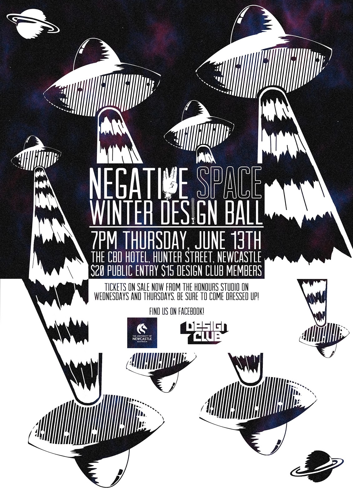 Poster design newcastle - Brief Create An A3 Size Poster For The Winter Design Ball The Theme Was Negative Space And Had To Convey That The Ball Was Space Themed Without Having
