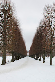 Kings's Park Copenhagen Kongens Have covered in snow looking through the trees