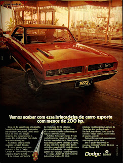 propaganda Dodge Charger RT - 1973. 1973. brazilian advertising cars in the 70. os anos 70. história da década de 70; Brazil in the 70s; propaganda carros anos 70; Oswaldo Hernandez;