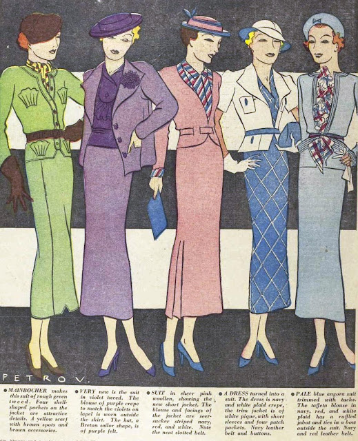A range of ladies suits, July 1935