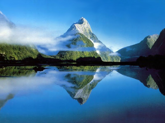Mountain Shadow on Water HD Wallpaper