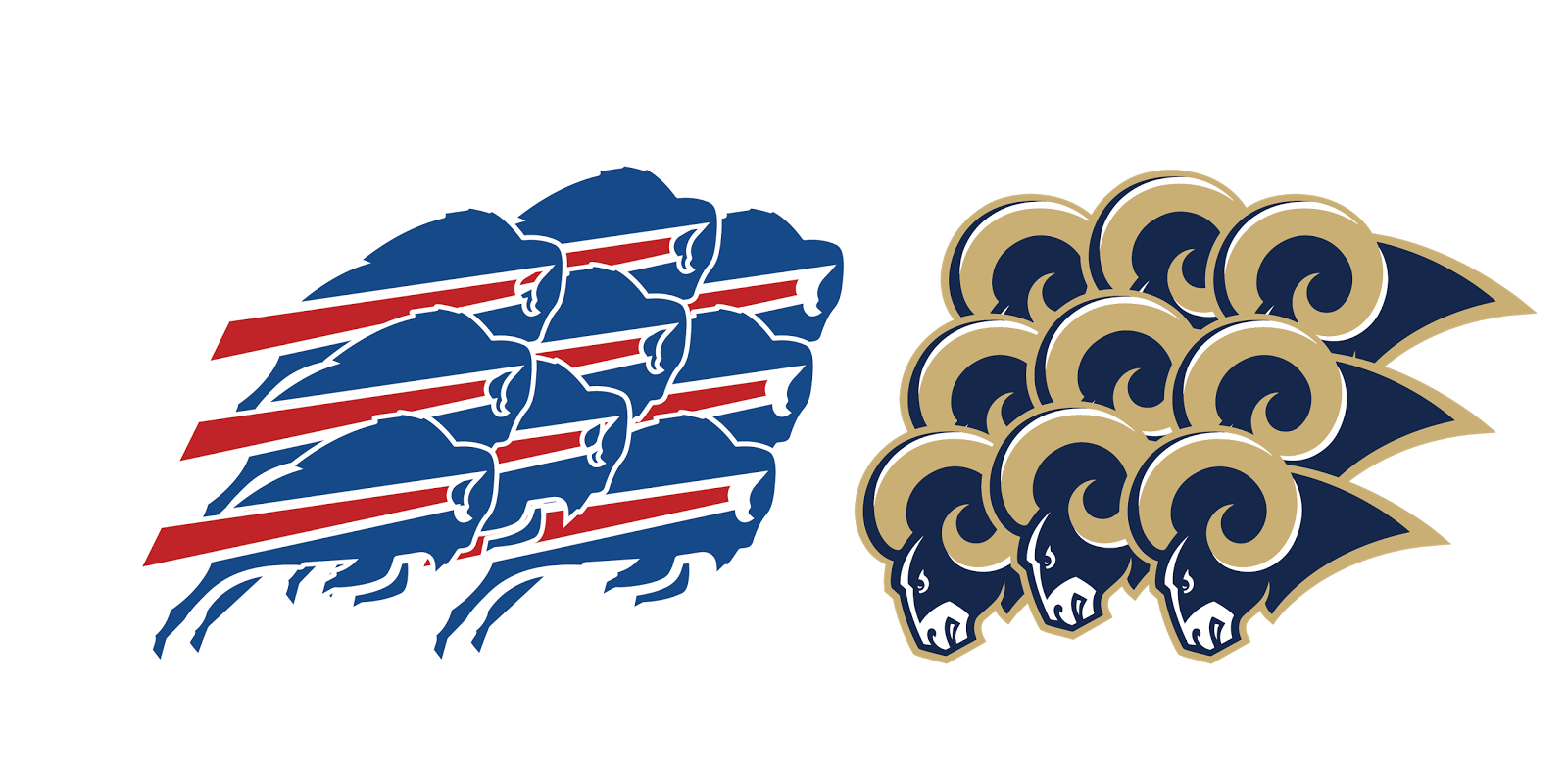 Buffalo Bills and Saint Louis Rams, metal, logo, re-imagined