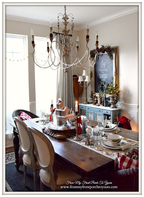 Farmhouse Christmas Dining Room-Cottage Style-French Country- From My Front Porch To Yours