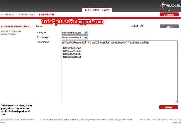 Contoh pengaduan melalui web T-Care