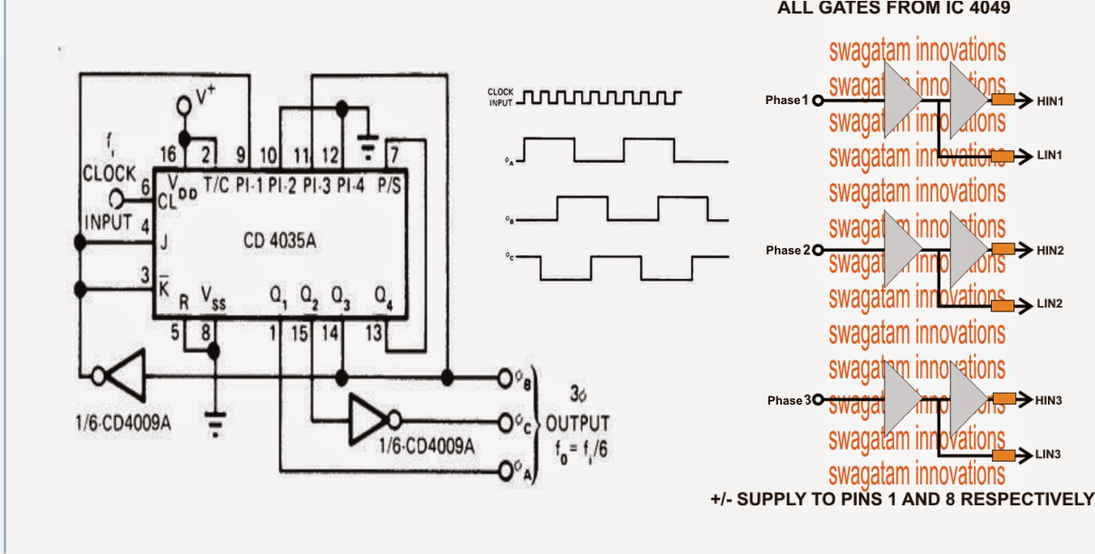 VFD 3 phase frequency geneartor Circuit