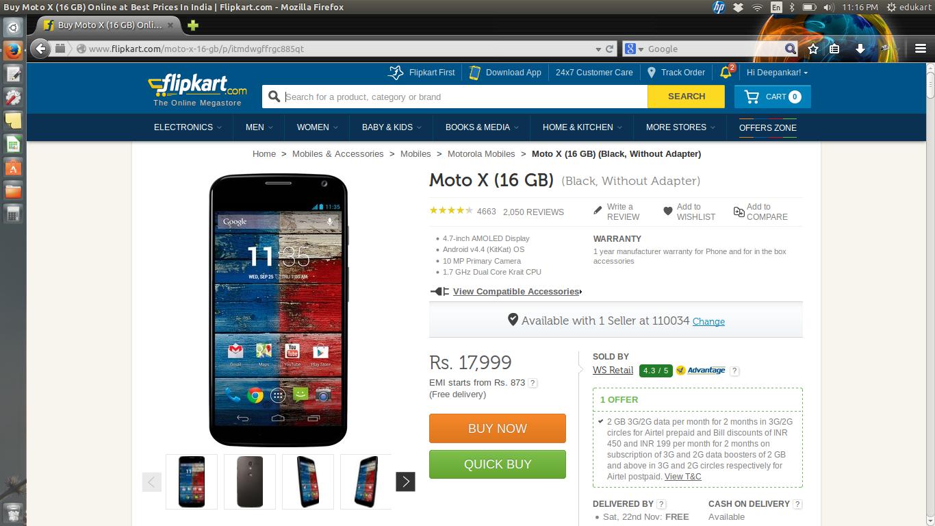 FlipKart Moto X Offers
