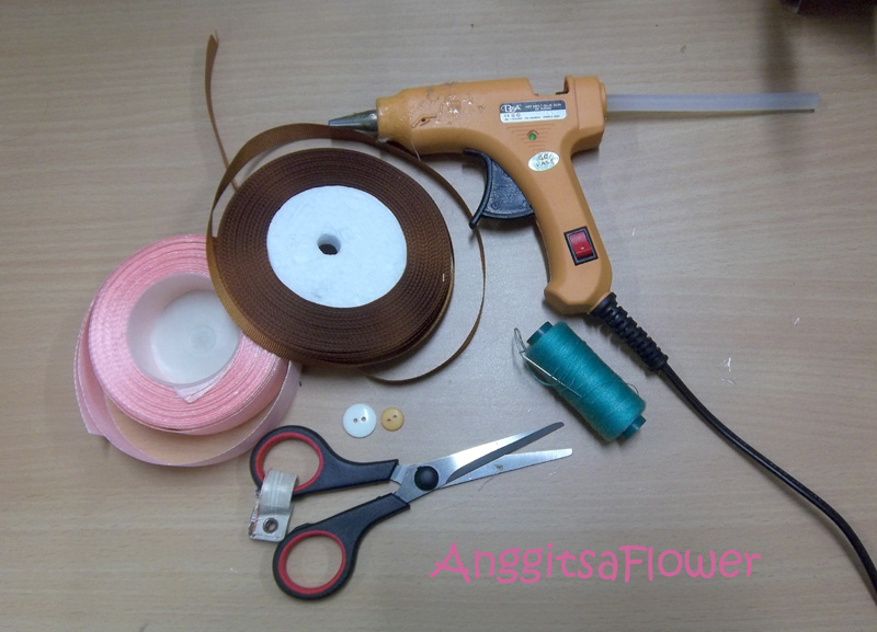 tutorial cara membuat bunga pita,ribbon flower tutorial