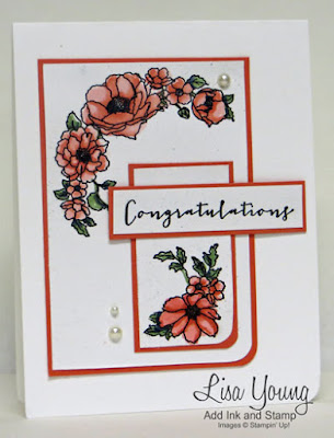 Stampin' Up! Timeless Love stamp set. Congratulations card for wedding or anniversary. White and coral. Handmade by Lisa Young, Add Ink and Stamp