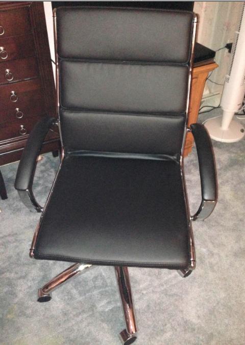 I received the Alera Neratoli Mid Back Swivel Tilt Chair It has the softest black leather and I love the shiny chrome frame