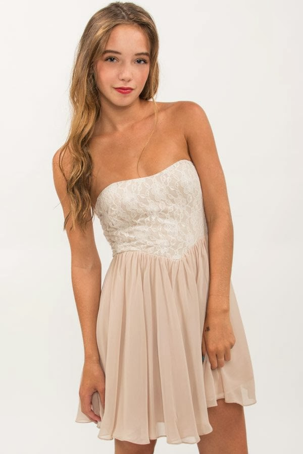 Chiffon & Lace Strapless Dress