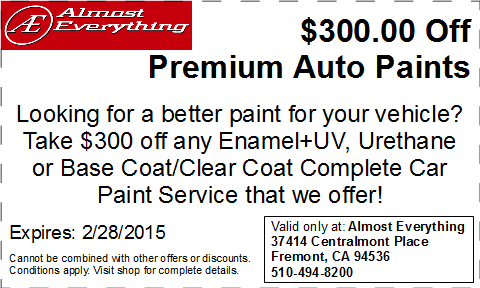 Discount Coupon $300 Off Premium Auto Paint Sale February 2015