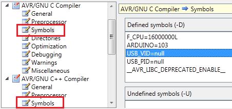 Configure toolchain: symbols