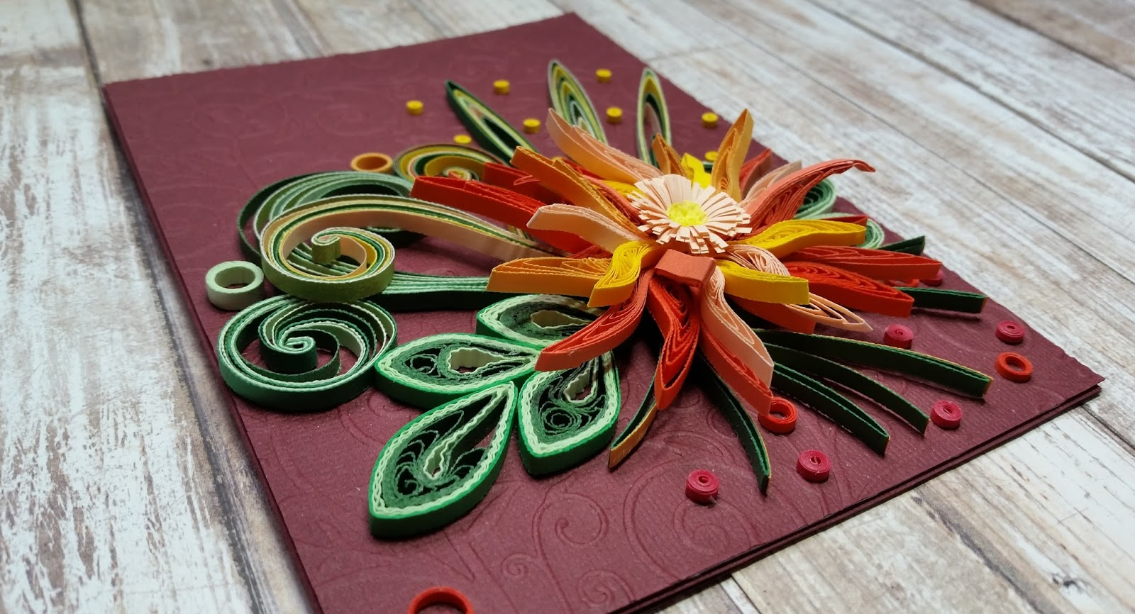 Nv craft designs quilled flowerall occasion cardorange quilled quilled flowerall occasion cardorange quilled cardchrysanthemum flower quilled m4hsunfo