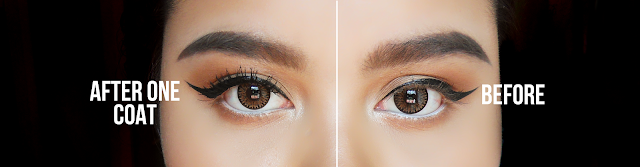 This image shows the before and after of using the Too Faced Better Than Sex Mascara