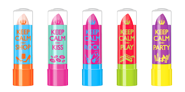 Keep Calm and Lip Balm Rimmel: 010 Keep Calm and Shop - 020 Keep Calm and Kiss - 030 Keep Calm and Rock - 040 Keep Calm and Play - 050 Keep Calm and Party