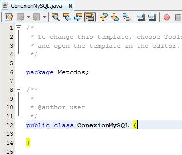Clase ConexionMySQL creada