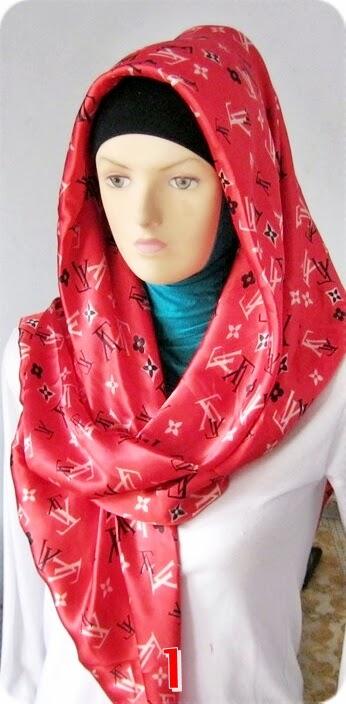 Jilbab Satin Motif LV