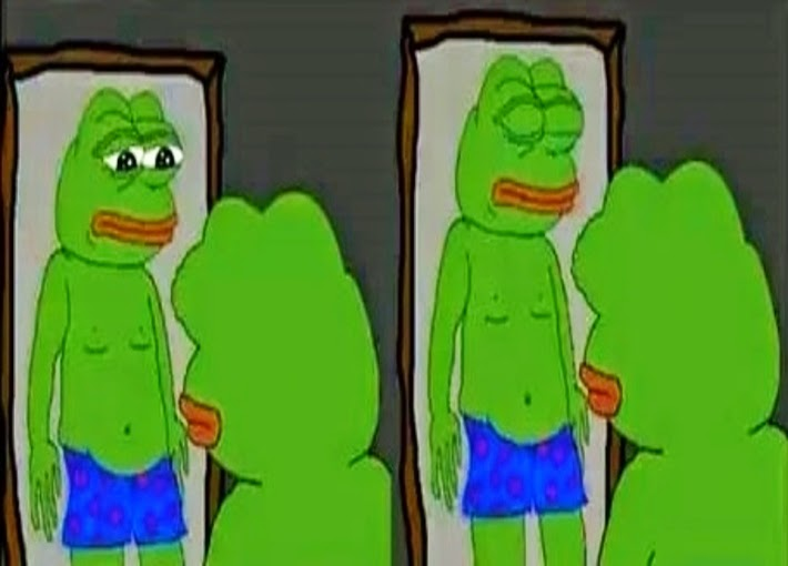 Pepe Sad Frog Having Issues With Body Image In This Creation By An Unknown  Genius