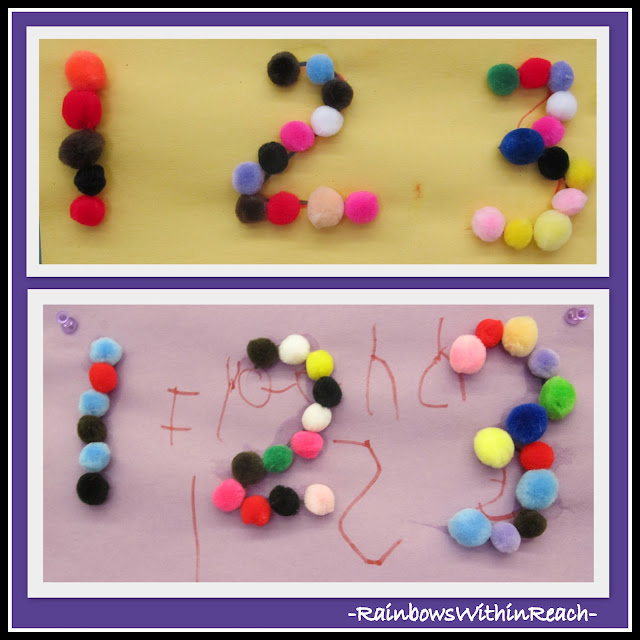 photo of: Math Art Project: Numerals from PomPoms from Math Round-Up by RainbowsWithinReach
