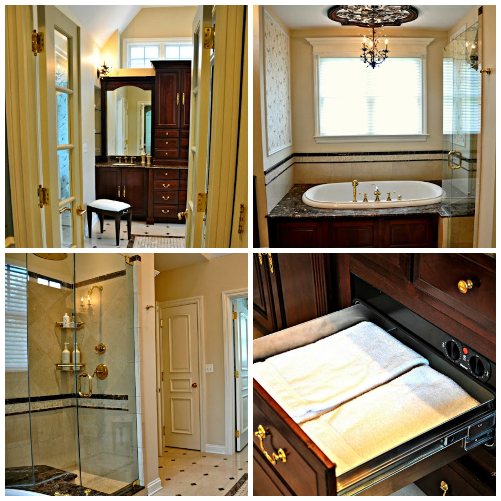 Attirant Marble And Granite Master Bathroom With Towel Warming Drawer
