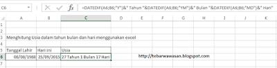 Cara mudah menghitung usia dalam tahun bulan dan hari menggunakan Excel