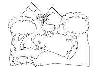Bears and owl in free forest animals coloring book by Robert Aaron Wiley for Microsoft Office Online