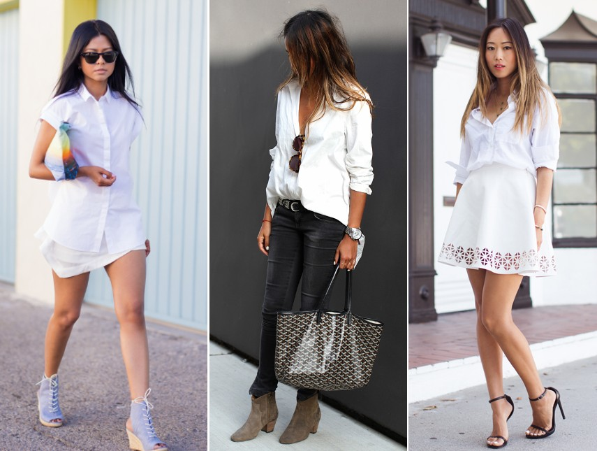 ways to wear white shirt trend 2014 outfits fashion blog bloggers wearing white shirt street style streetstyle