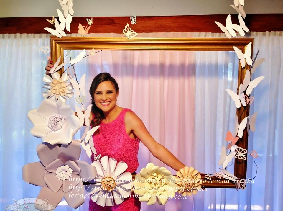 Ateli u00ea Festa Provençal Pergolado com flores gigantes para fotos de Festa Jardim  -> Decoração De Aniversário Com Flores Gigantes