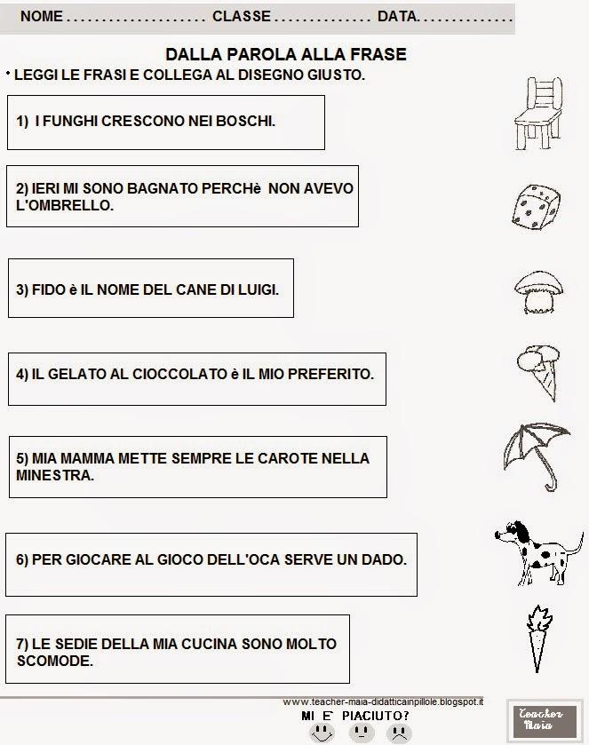 schede didattiche italiano classe 1