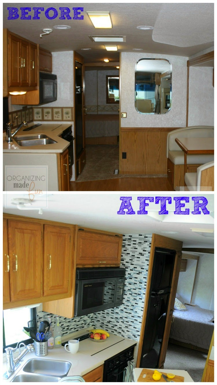 Before and after of RV kitchen update :: OrganizingMadeFun.com