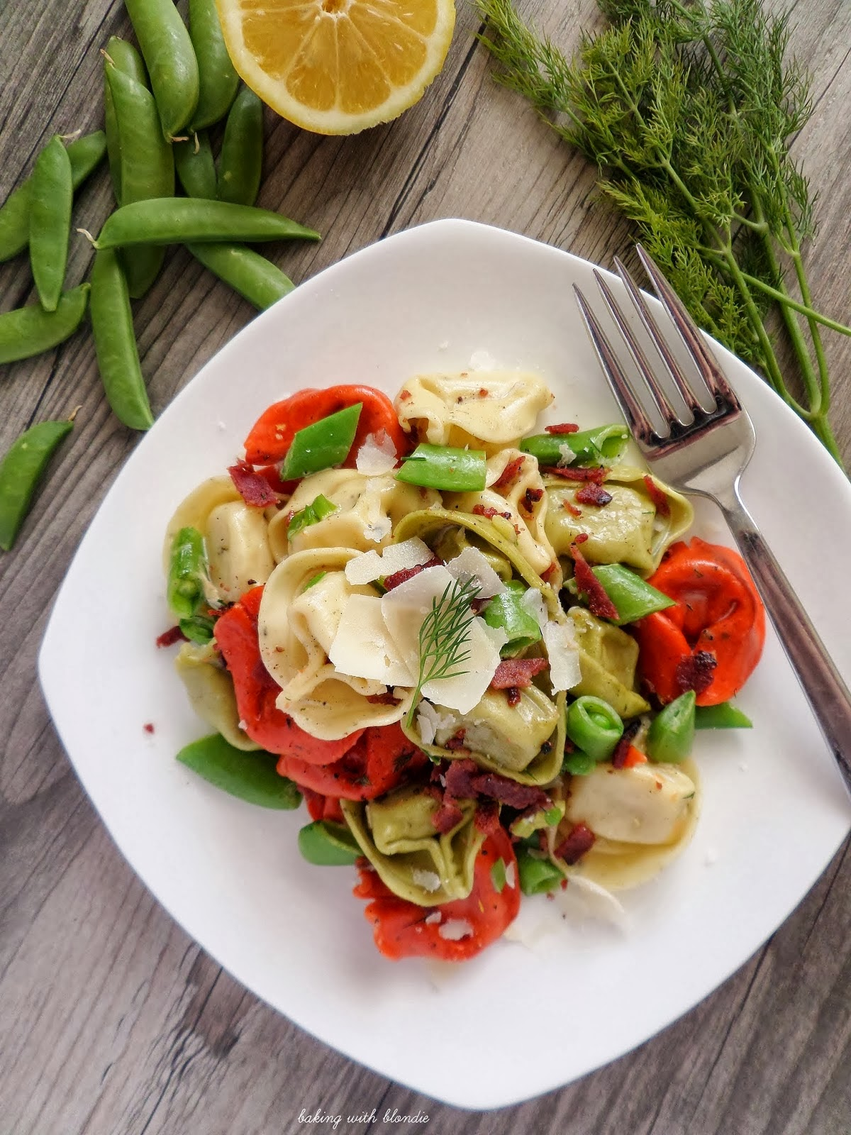 Cheese Tortellini with Snap Peas in a Lemon Dill Cream Sauce