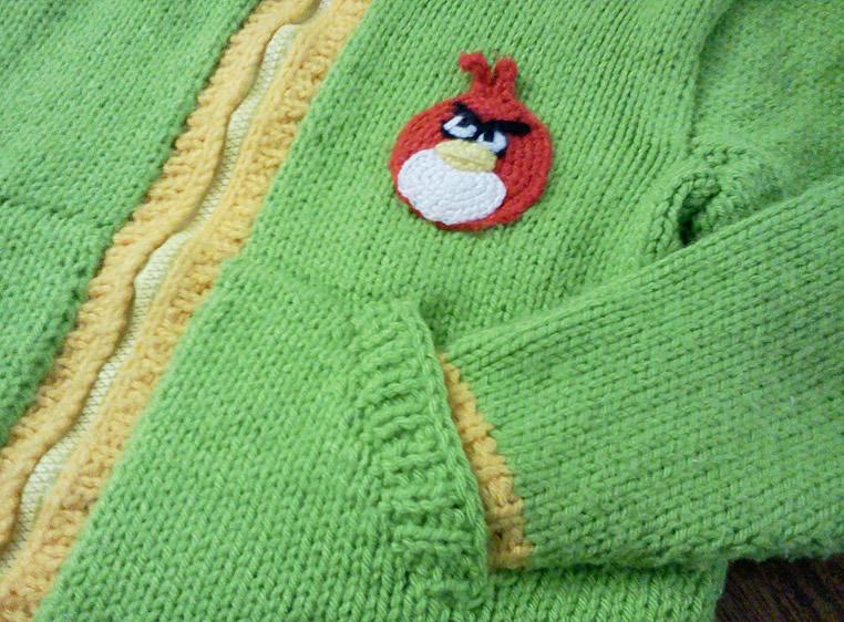 Chaleco Angry Birds verde tejido a Palillo | Tejedorita