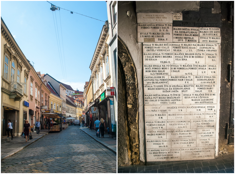 Streets of zagreb collage with the wall of names outside a cathedral