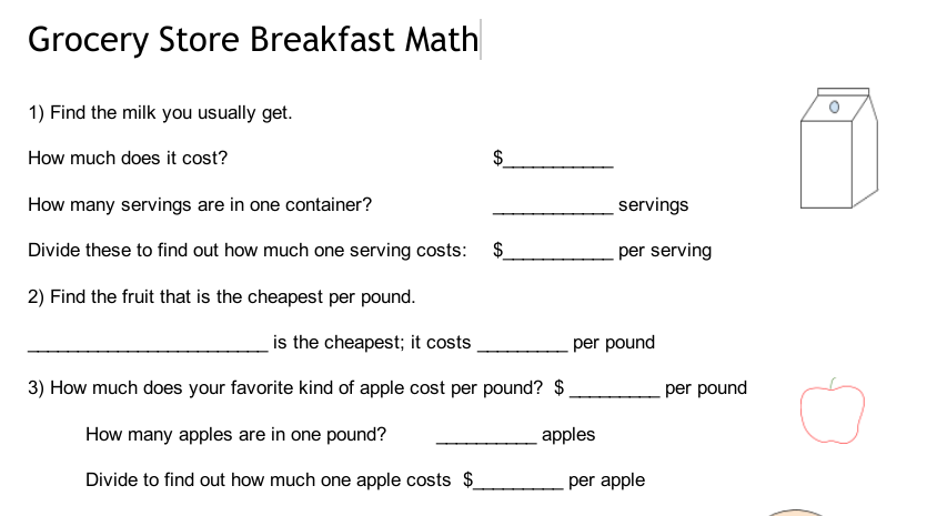 Grocery Store Math Sheet – Grocery Store Math Worksheets
