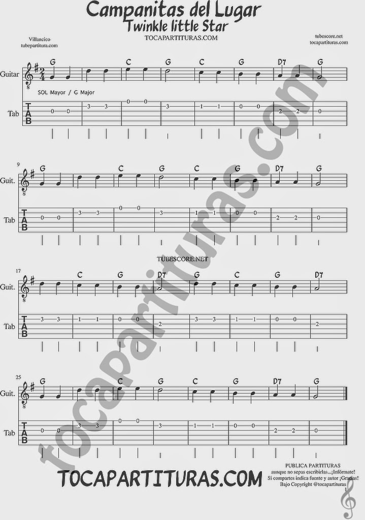 Tubescore Twinkle Twinkle Little Star Sheet Music for Guitar in G major Campanitas de Lugar Christmas Carol