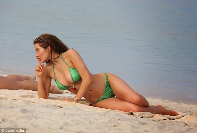 Helen Flanagan Shines In Emerald Green String Two Piece Daily Mail